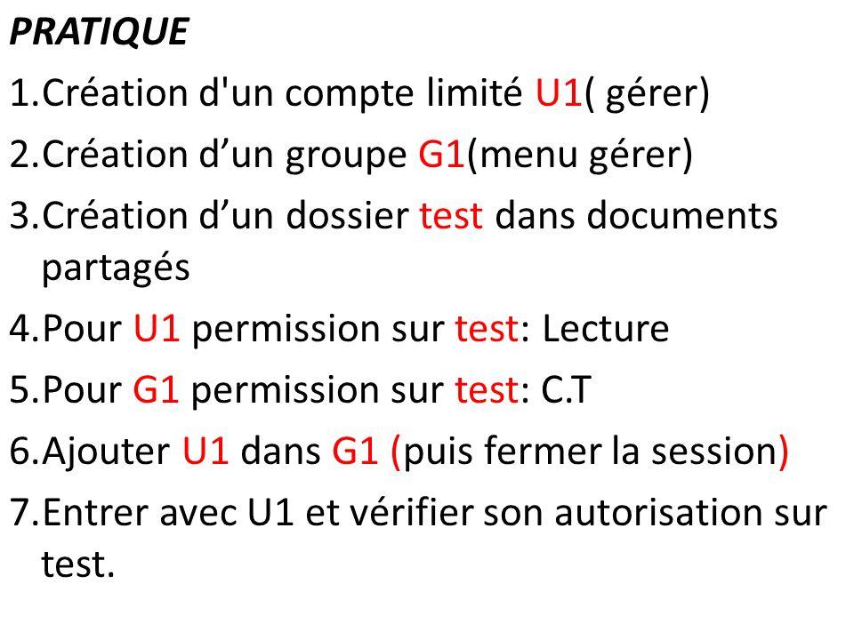 Création d un compte limité U1( gérer)