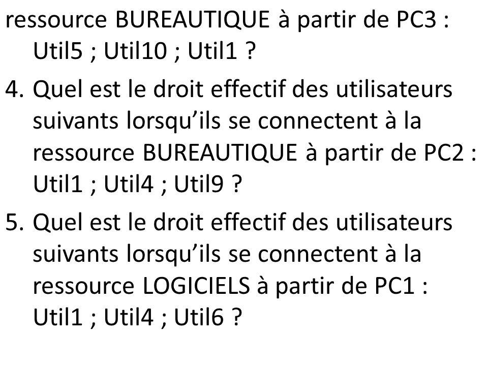 ressource BUREAUTIQUE à partir de PC3 : Util5 ; Util10 ; Util1