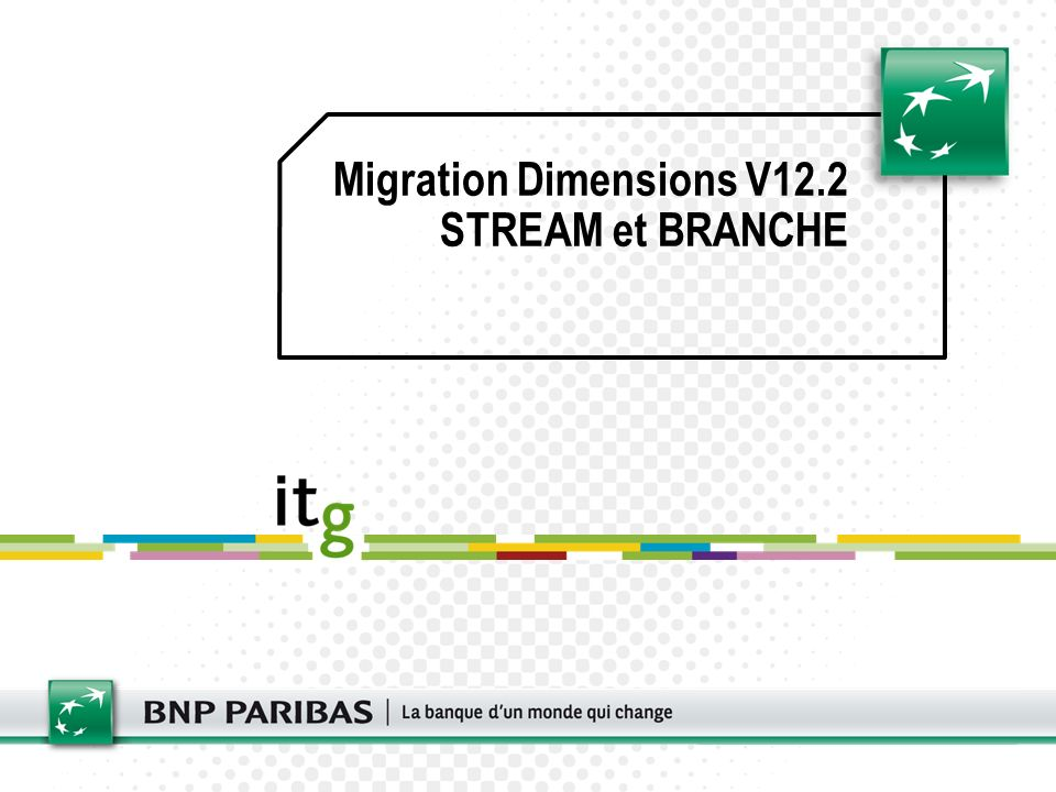 Migration Dimensions V12.2 STREAM et BRANCHE