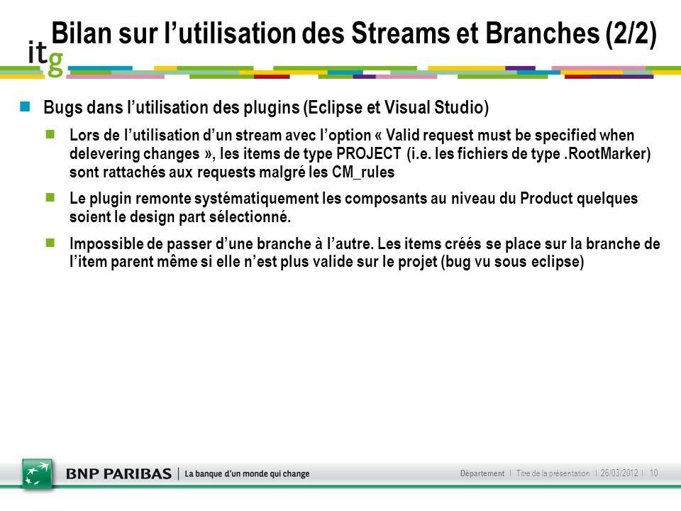 Bilan sur l'utilisation des Streams et Branches (2/2)