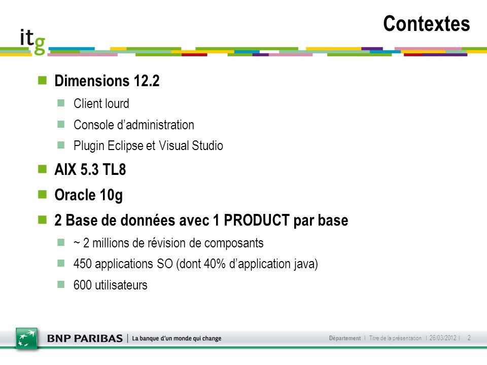 Contextes Dimensions 12.2 AIX 5.3 TL8 Oracle 10g
