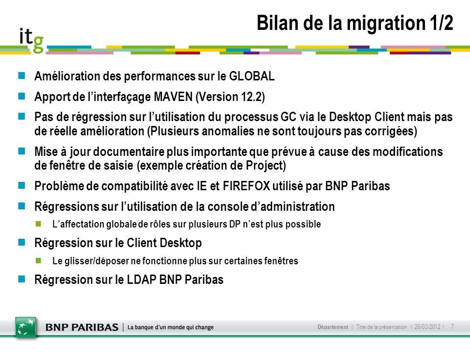 Bilan de la migration 1/2 Amélioration des performances sur le GLOBAL