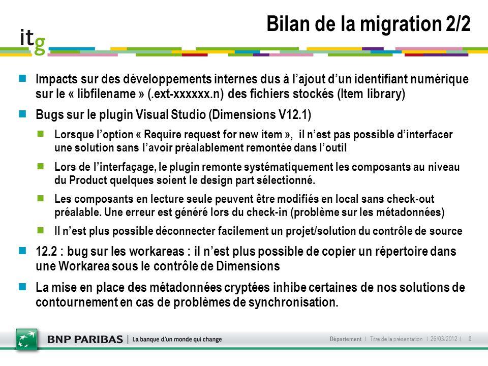 Bilan de la migration 2/2