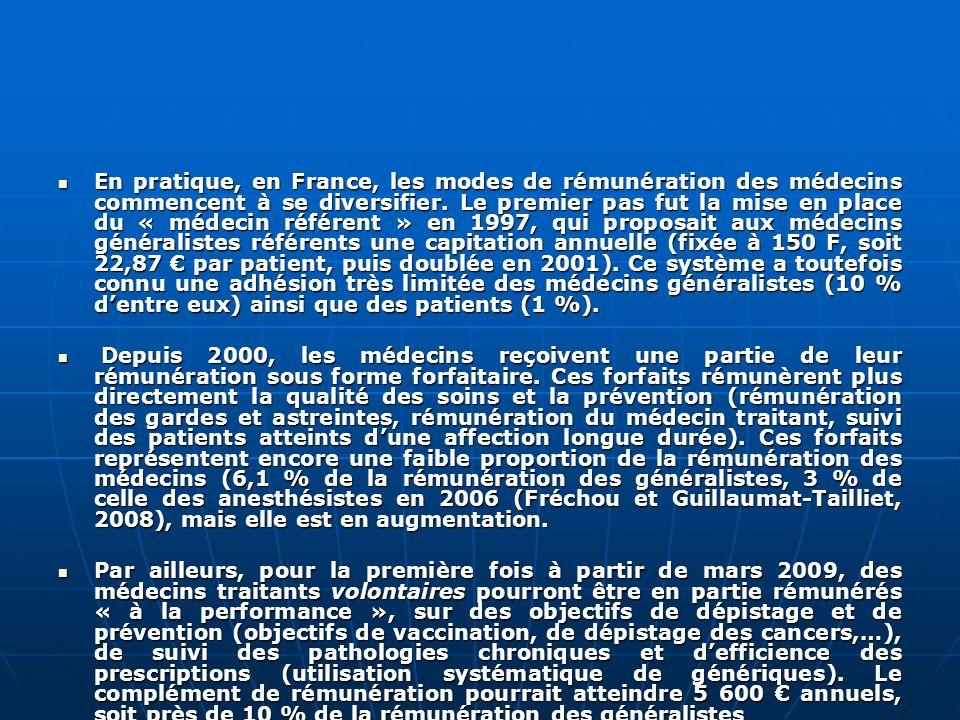 En pratique, en France, les modes de rémunération des médecins commencent à se diversifier. Le premier pas fut la mise en place du « médecin référent » en 1997, qui proposait aux médecins généralistes référents une capitation annuelle (fixée à 150 F, soit 22,87 € par patient, puis doublée en 2001). Ce système a toutefois connu une adhésion très limitée des médecins généralistes (10 % d'entre eux) ainsi que des patients (1 %).