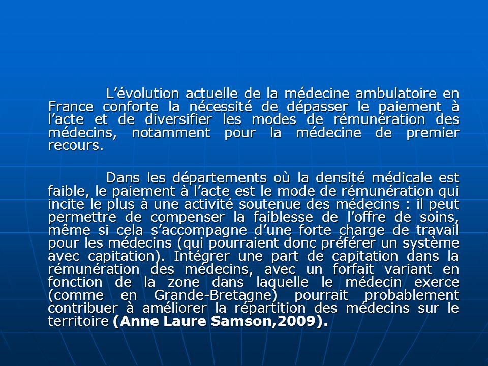 L'évolution actuelle de la médecine ambulatoire en France conforte la nécessité de dépasser le paiement à l'acte et de diversifier les modes de rémunération des médecins, notamment pour la médecine de premier recours.