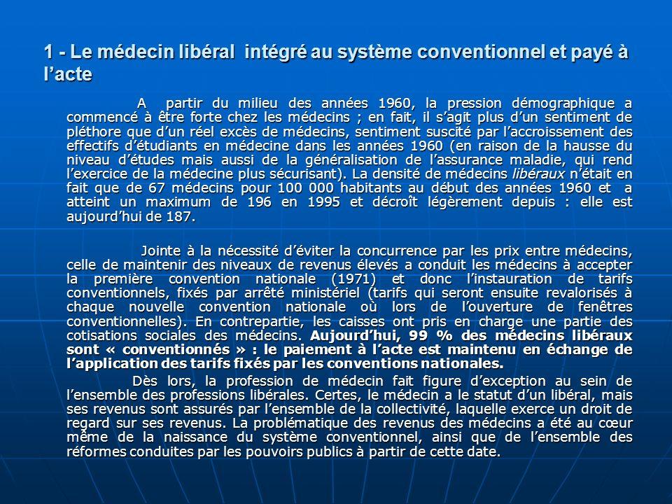1 - Le médecin libéral intégré au système conventionnel et payé à l'acte