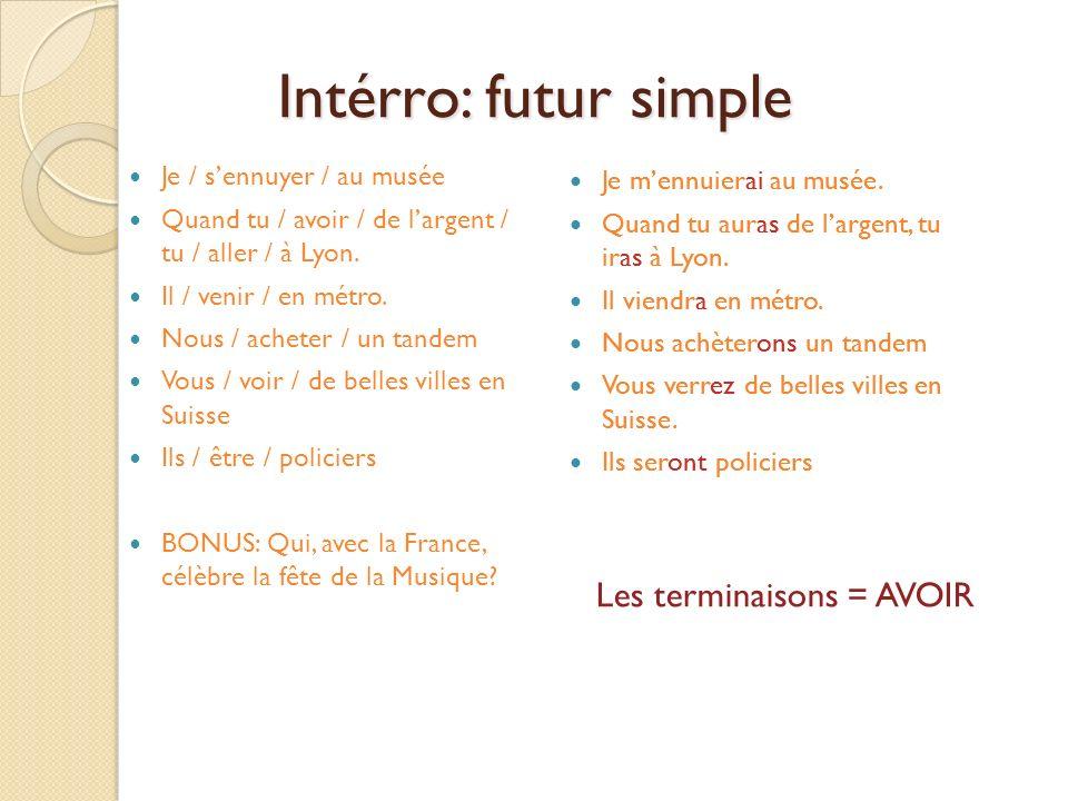 Intérro: futur simple Les terminaisons = AVOIR