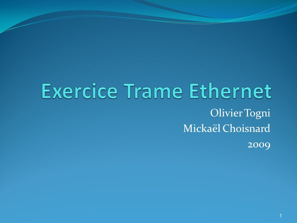 Exercice Trame Ethernet