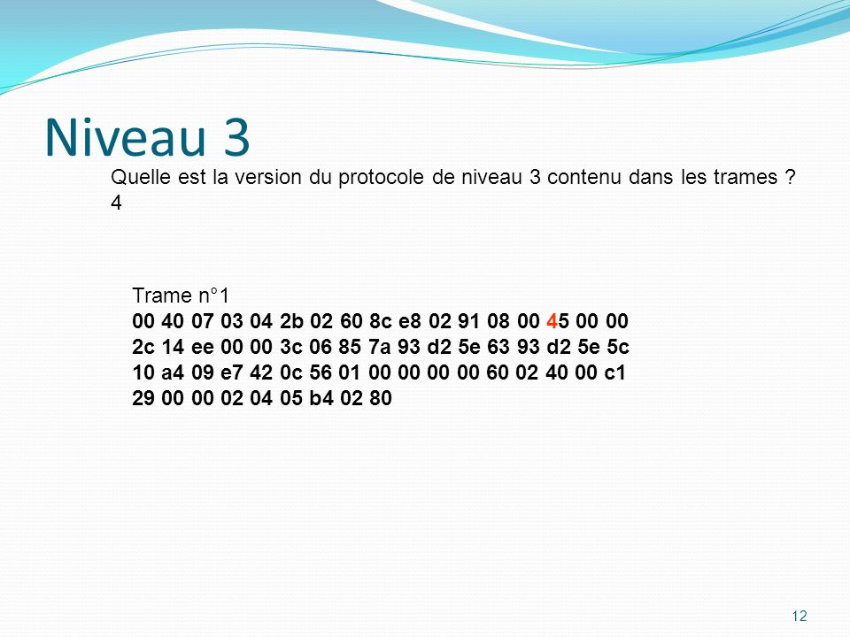 Niveau 3 Quelle est la version du protocole de niveau 3 contenu dans les trames 4. Trame n°1. 00 40 07 03 04 2b 02 60 8c e8 02 91 08 00 45 00 00.