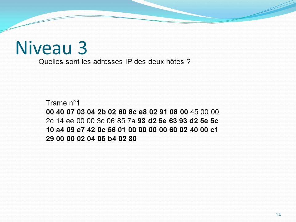 Niveau 3 Quelles sont les adresses IP des deux hôtes Trame n°1