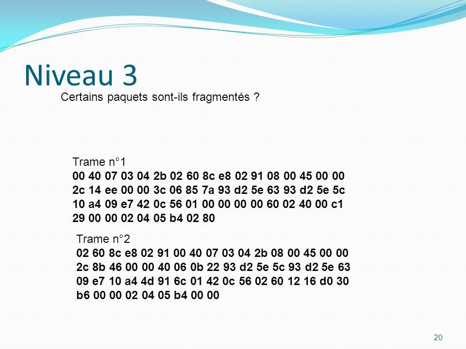 Niveau 3 Certains paquets sont-ils fragmentés Trame n°1
