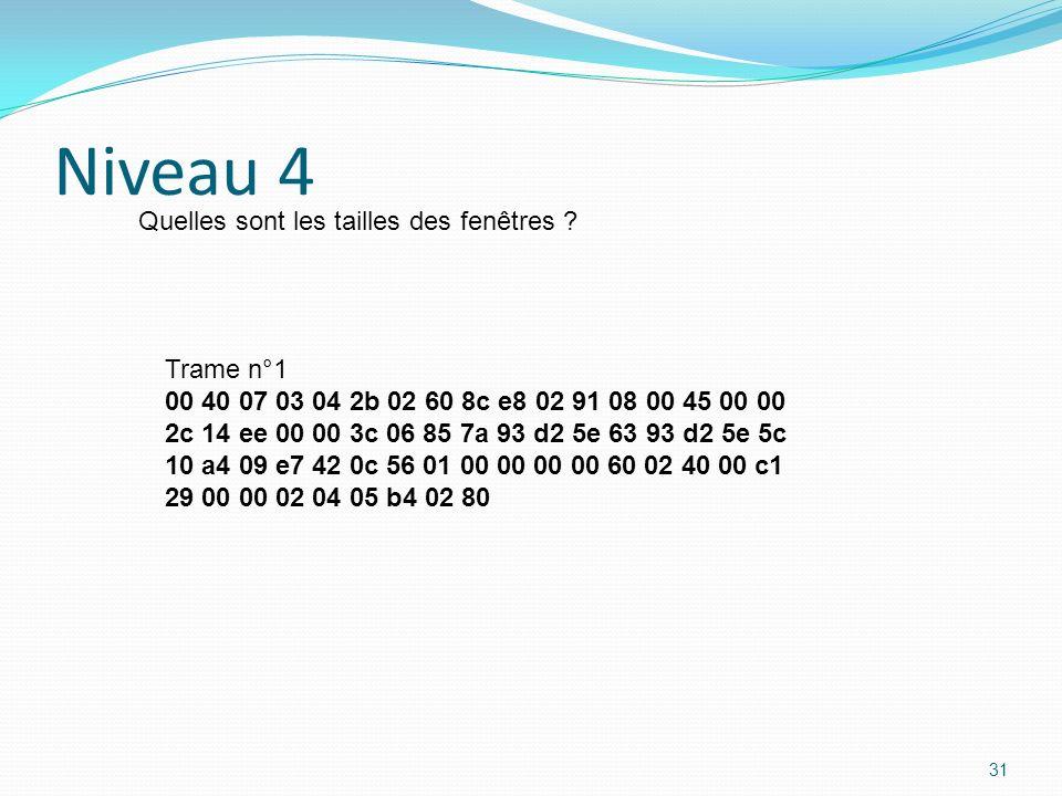 Niveau 4 Quelles sont les tailles des fenêtres Trame n°1