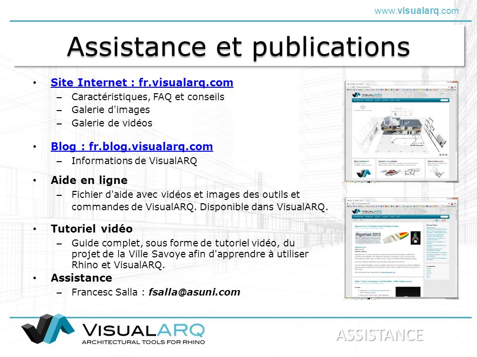 Assistance et publications