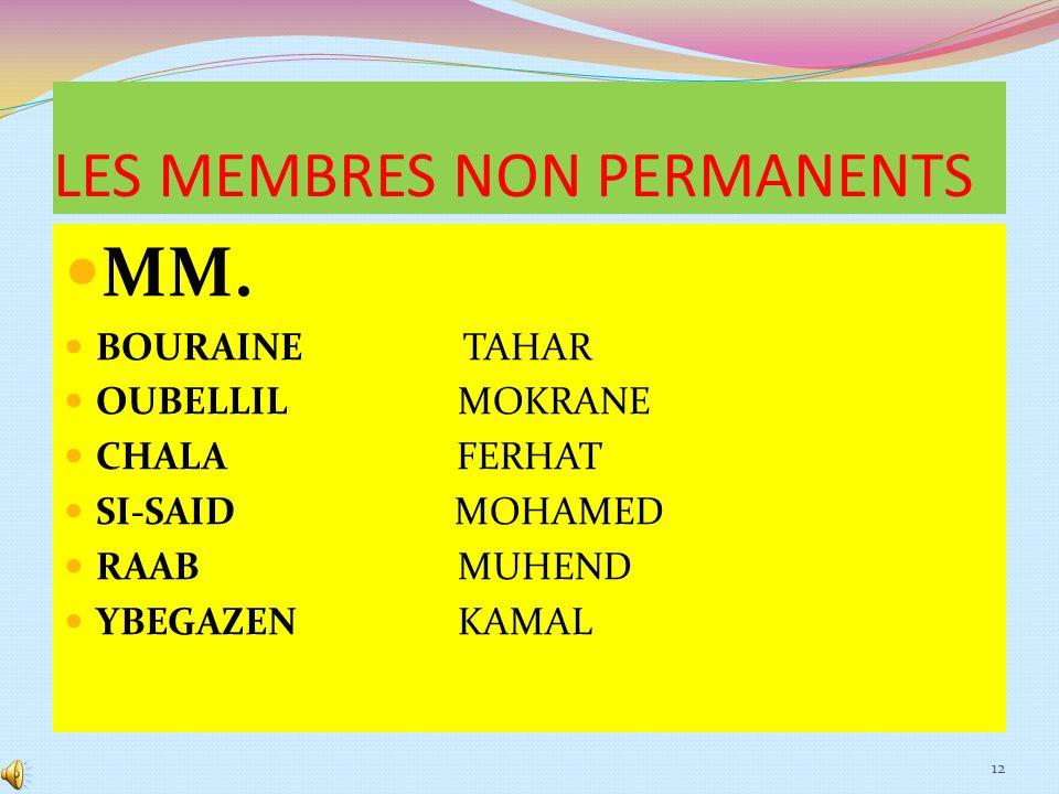 LES MEMBRES NON PERMANENTS