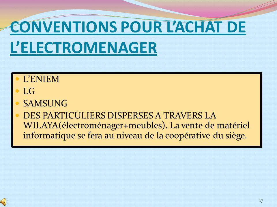 CONVENTIONS POUR L'ACHAT DE L'ELECTROMENAGER