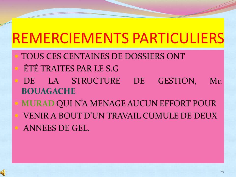 REMERCIEMENTS PARTICULIERS
