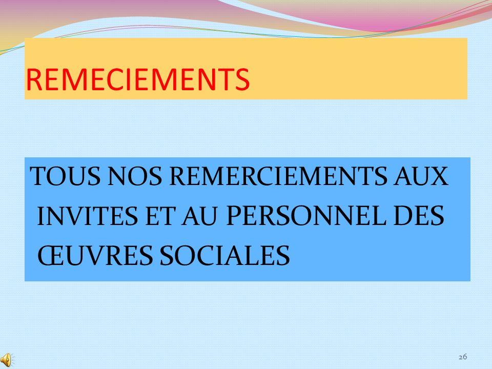 REMECIEMENTS ŒUVRES SOCIALES TOUS NOS REMERCIEMENTS AUX