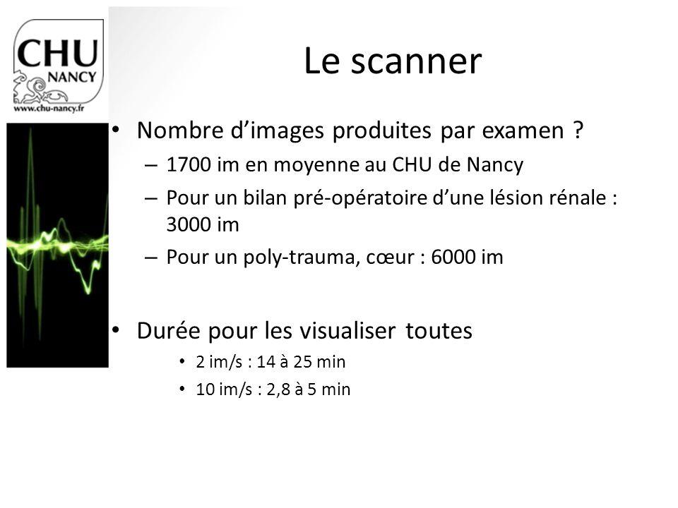 Le scanner Nombre d'images produites par examen