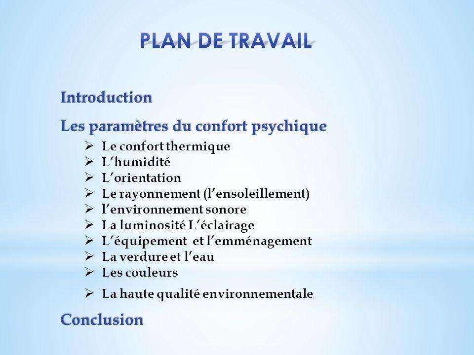 Plan de travail Introduction Les paramètres du confort psychique