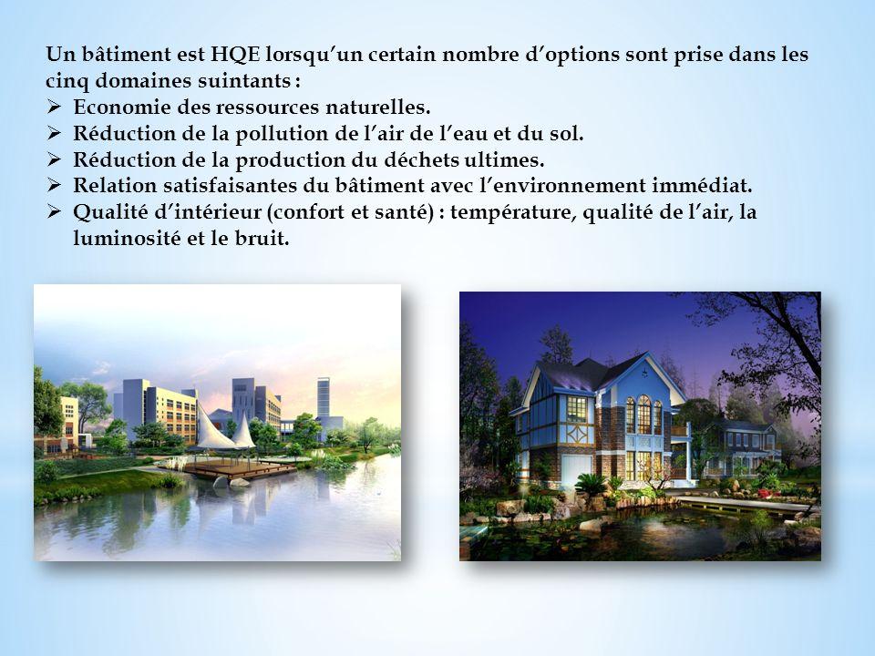 Un bâtiment est HQE lorsqu'un certain nombre d'options sont prise dans les cinq domaines suintants :