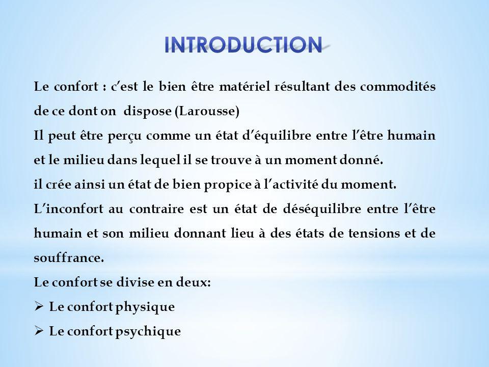 Introduction Le confort : c'est le bien être matériel résultant des commodités de ce dont on dispose (Larousse)