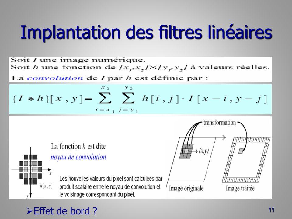 Implantation des filtres linéaires