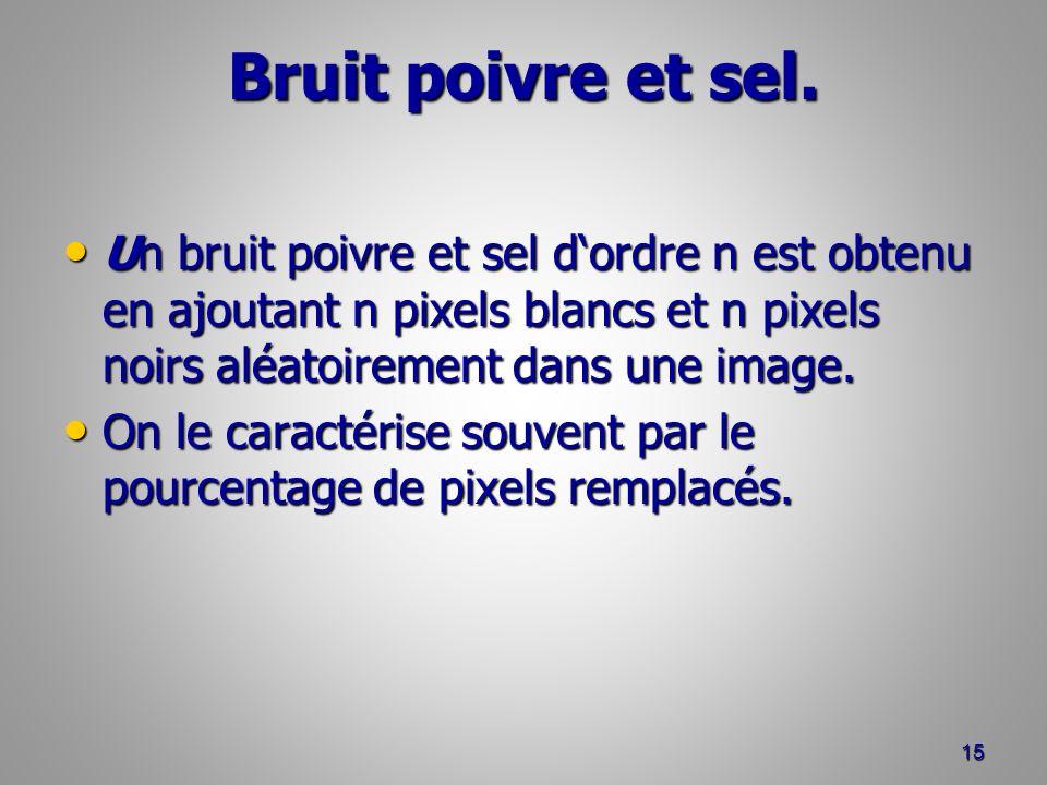 Bruit poivre et sel. Un bruit poivre et sel d'ordre n est obtenu en ajoutant n pixels blancs et n pixels noirs aléatoirement dans une image.