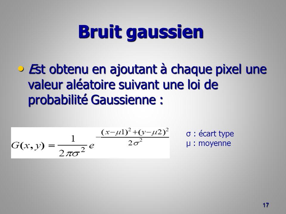 Bruit gaussien Est obtenu en ajoutant à chaque pixel une valeur aléatoire suivant une loi de probabilité Gaussienne :