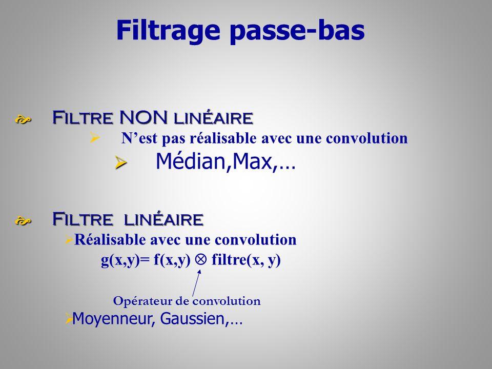 Filtrage passe-bas Médian,Max,… Filtre NON linéaire