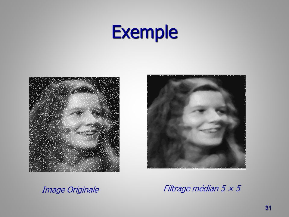 Exemple Image Originale Filtrage médian 5 × 5