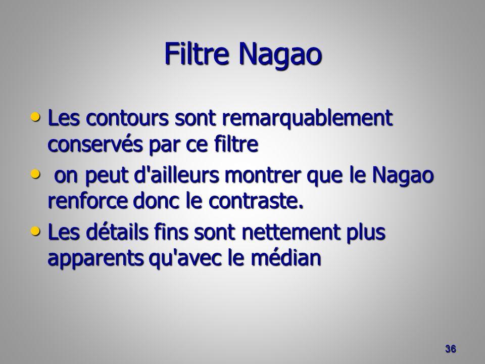 Filtre Nagao Les contours sont remarquablement conservés par ce filtre