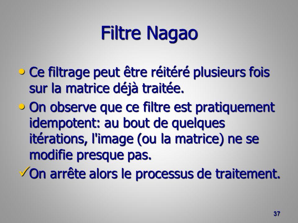 Filtre Nagao Ce filtrage peut être réitéré plusieurs fois sur la matrice déjà traitée.