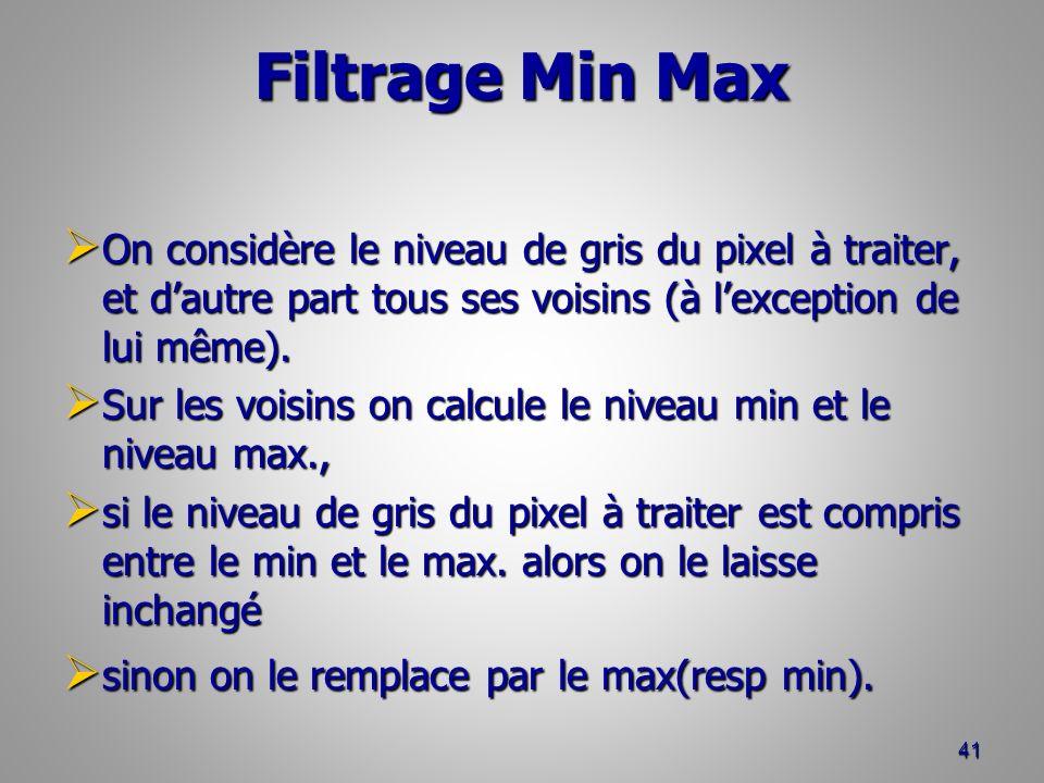 Filtrage Min Max On considère le niveau de gris du pixel à traiter, et d'autre part tous ses voisins (à l'exception de lui même).