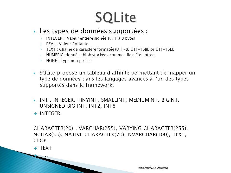 SQLite Les types de données supportées :