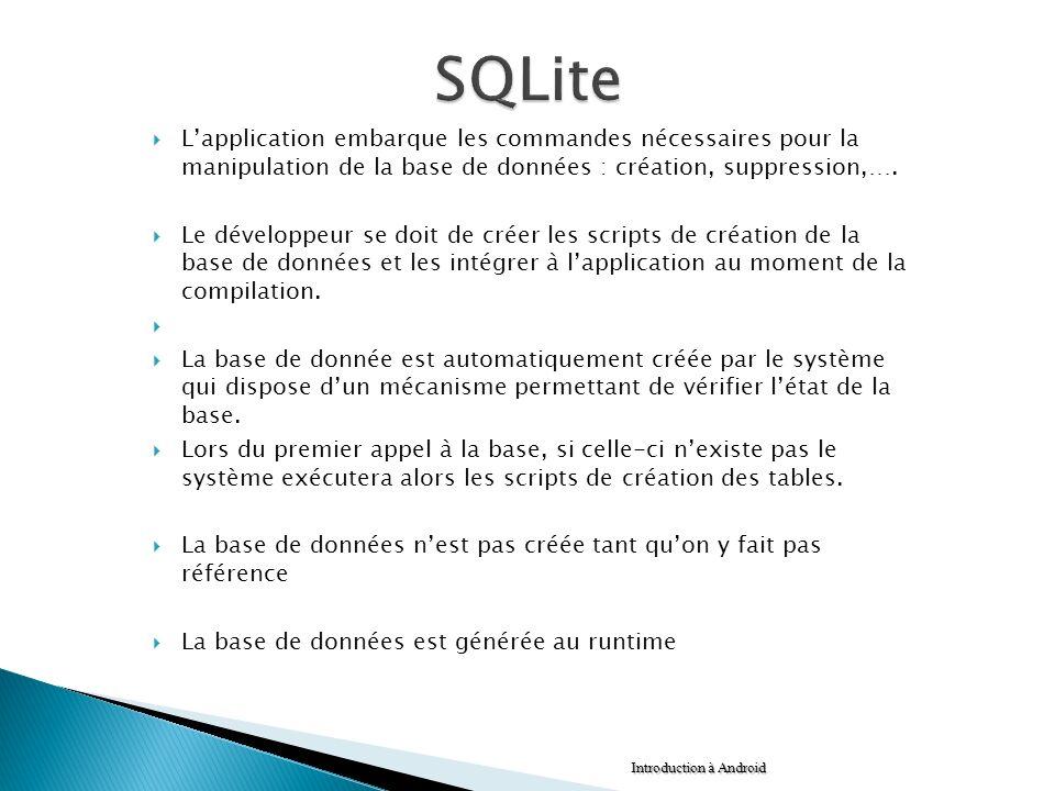 SQLite L'application embarque les commandes nécessaires pour la manipulation de la base de données : création, suppression,….