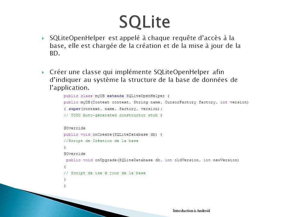 SQLite SQLiteOpenHelper est appelé à chaque requête d'accès à la base, elle est chargée de la création et de la mise à jour de la BD.