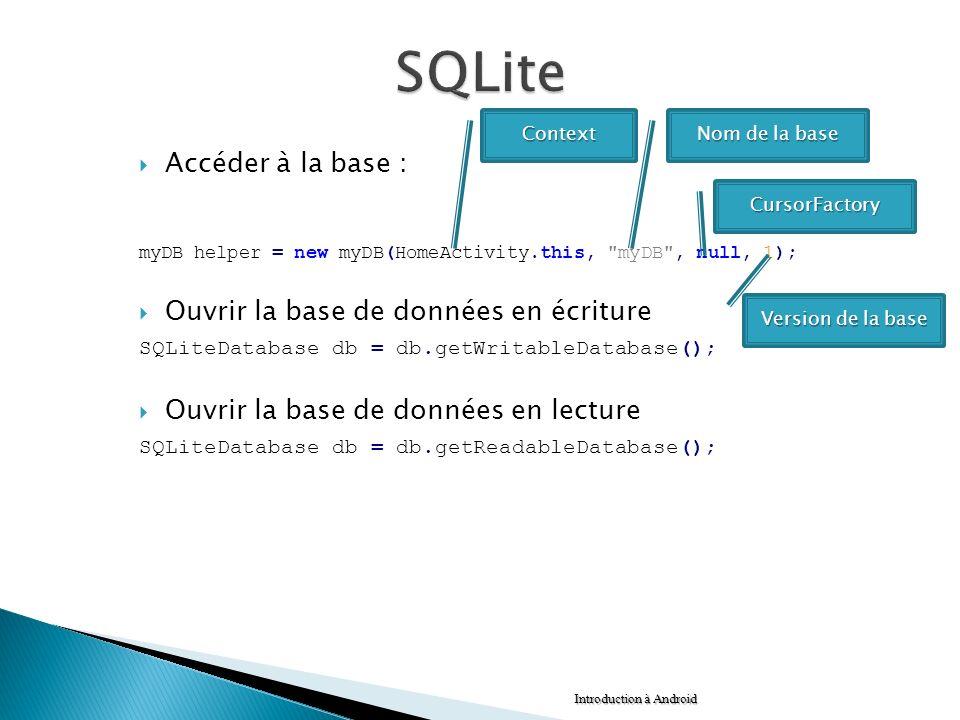 SQLite Accéder à la base : Ouvrir la base de données en écriture