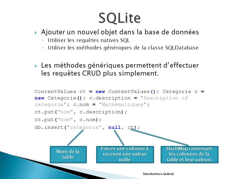 SQLite Ajouter un nouvel objet dans la base de données