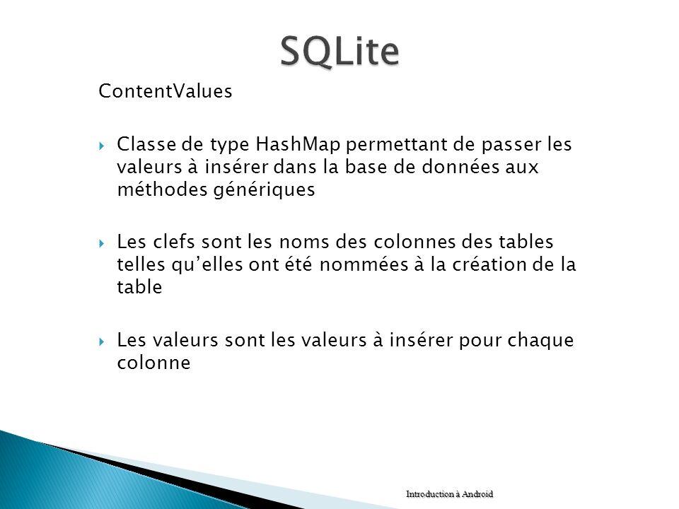 SQLite ContentValues. Classe de type HashMap permettant de passer les valeurs à insérer dans la base de données aux méthodes génériques.