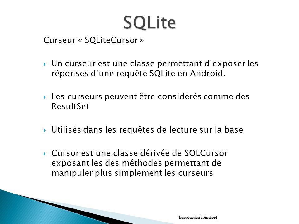 SQLite Curseur « SQLiteCursor »