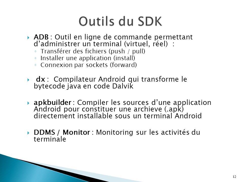 Outils du SDK ADB : Outil en ligne de commande permettant d'administrer un terminal (virtuel, réel) :