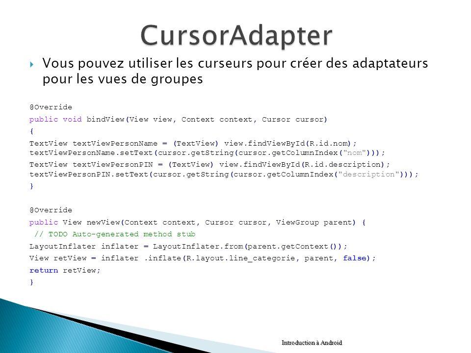 CursorAdapter Vous pouvez utiliser les curseurs pour créer des adaptateurs pour les vues de groupes.