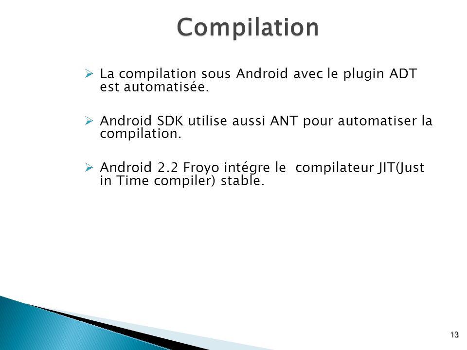 Compilation La compilation sous Android avec le plugin ADT est automatisée. Android SDK utilise aussi ANT pour automatiser la compilation.
