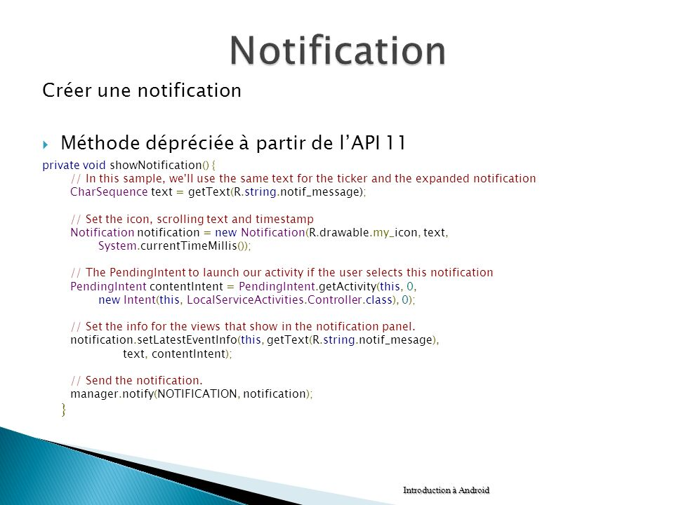 Notification Créer une notification