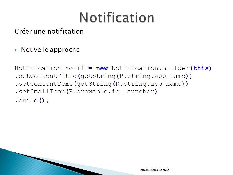 Notification Créer une notification Nouvelle approche