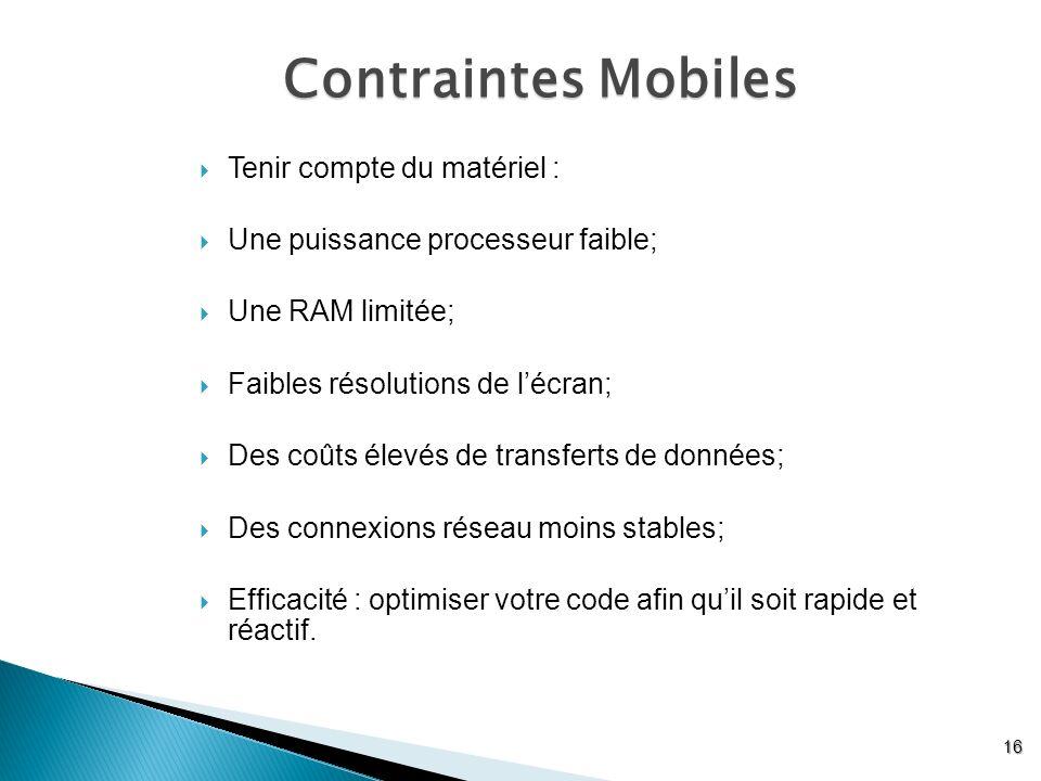 Contraintes Mobiles Tenir compte du matériel :