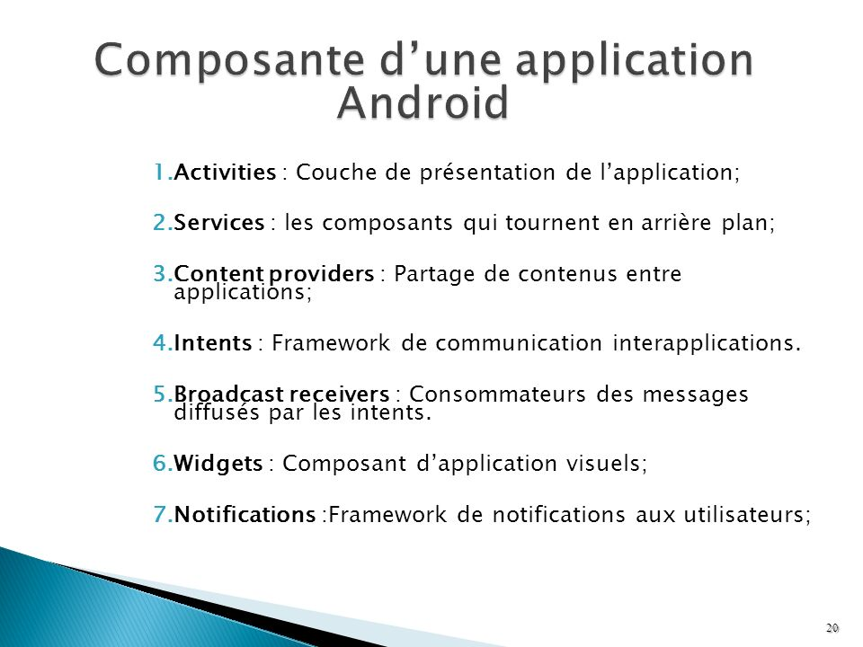 Composante d'une application Android