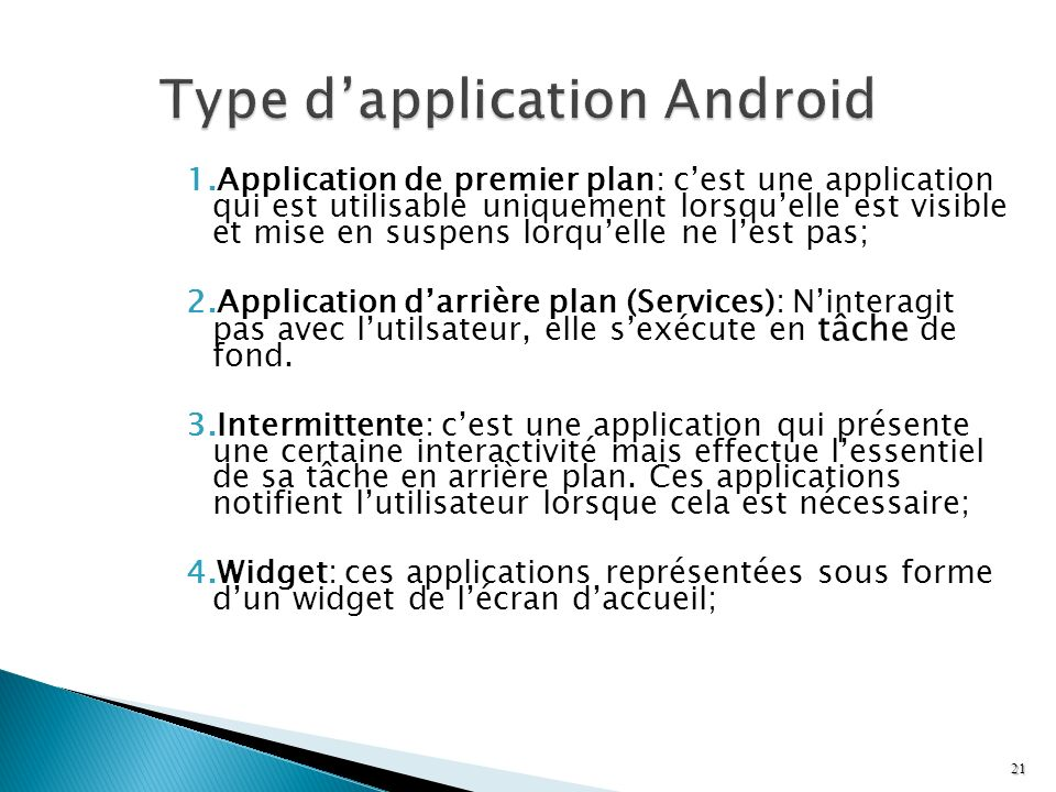 Type d'application Android