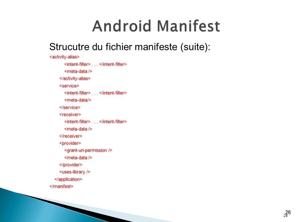 Android Manifest Strucutre du fichier manifeste (suite): 26