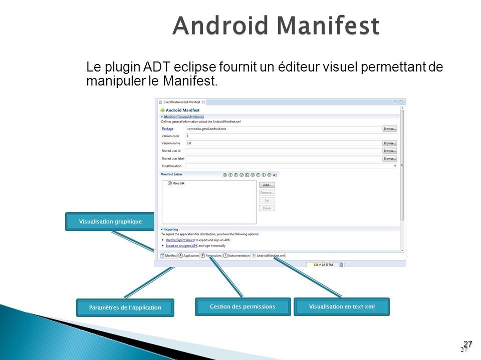 Android Manifest Le plugin ADT eclipse fournit un éditeur visuel permettant de manipuler le Manifest.